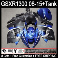 carenados de hayabusa negro azul al por mayor-8gifts flat blue Para SUZUKI Hayabusa GSXR1300 2008 2010 2010 2011 14MY194 GSXR-1300 GSX R1300 GSXR 1300 2012 2013 2014 2015 negro Carenado