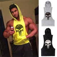 Wholesale Tshirt Vest Men - Men Clothing Cotton Pullover Hoody GYM Hoodie Cotton Vest with Hat Gym Shark Skulls Sporting Tank Top Tshirt for Men Gymshark