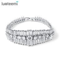 Wholesale Wide Wrist Bangle - LUOTEEMI Luxury Geometrical Shape AAA CZ Stone Wide Bracelet Bars Connected Wrist Band Bracelet Zircon Bangles White Gold-Color