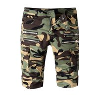 Wholesale Hip Funding - Fashion Tide Brand Locomotive Fund New Pattern Camouflage Multi Bag Zipper Cowboy Shorts Male Pants Hip Hop Punk Short Causal Mens Denim