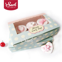 Wholesale Muffin Cookies - Wholesale-DGH047 Cookie Package the Happy Everyday Spot Macarons Box, Cake box, Chocolate, Muffin Biscuits Box 21.5x13.5x5cm 10pcs lot