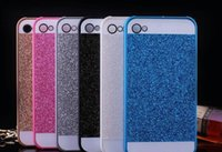 caso del logotipo de la manzana del iphone 4s al por mayor-Nueva llegada Glitter Powder Bling de plástico duro Volver Funda Fashion Sparkle Phone Cases para iPhone 4 4s 5 5s SE 6 / 6S 7 7 Plus Funda con logotipo