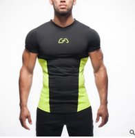 Wholesale Tshirts Panel - New 2017 man tshirts Compression Shirt Captain America Iron man Fit Tight Gym Bodybuilding T Shirt