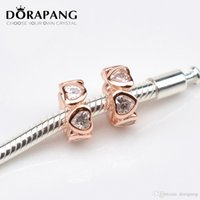 DORAPANG in oro rosa placcato argento 925 charms a strisce con fascino europeo si adatta braccialetto Bangle serpente catena gioielli perline MGJ014