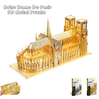 Wholesale Diy Notre Dame - PieceCool 3d Metal Puzzle of Notre Dame De Paris Silver & Gold Color DIY 3D Assembled Architectural Model Jigsaws for Kids Toys