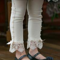 Wholesale Girls Summer Bottoms - 2017 New Springs Children Princess Leggings Girl Beaded Lace Cotton Leggings Kids Bottoms Children Tights & Leggings