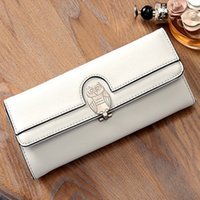 Wholesale Ladies Clutch Wallets For Phones - 2017 New Women Owl Clutch Bags 5 Colors PU Leather Wallets & Holders For Lady Long Wallets