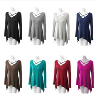 Wholesale Wholesale Knitted Shirts - Long Sleeve T-Shirts Knit Plus Size Shirt Fashion Casual Tops Loose V Neck Female Blouse Sexy Sweatshirts Pullover Women's Clothing B2432