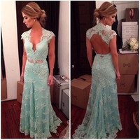 Wholesale mint mermaid tulle prom dress - Mint Green V-neck Lace Mermaid Prom Dresses Backless Short Sleeve Beaded Appliques Long Formal Evening Dresses Gowns