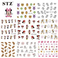 Wholesale Nail Sticker Lips - Wholesale-1sheets Optional 2016 Nail Sticker Water Transfer Cartoon Flower Lips Animal DIY Tips Nails Beauty Manicure Nail Decals NC131