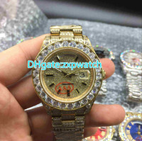 Wholesale Diamond Band Watches - 2017 NEW Luxury 43mm Big diamond Mechanical man watch (Multi color dial) All diamond band Automatic Stainless steel men's watches