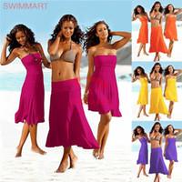 Wholesale wholesale beach cover up wrap - Women swimwear cover ups Beach wrap dress Multi functions Solid Bikini cover ups comfort European 2017 quality
