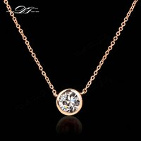 Double Fair Simple Style Cubic Zirconia Colares Pingentes Rose Gold Color Moda Jóias Para Mulheres Chain Accessiories Dfn454