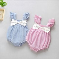 Wholesale Toddlers One Piece Hooded Rompers - Baby Romper Cute Girls Toddler Rompers Jumpsuit Striped Puff Sleeve Bowknot Infant Onesies Children Climb One-piece Bodysuit Rompers A6716