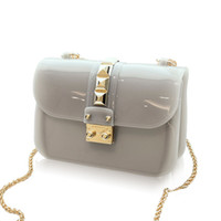 Wholesale White Black Jelly Beach Bags - Wholesale- CHICHI Designer Clear Candy Jelly Bag 2016 Women Messenger Bags Summer Beach Mini Chain Crossbody Rivet Transparent Handbags
