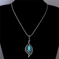 Wholesale Gold Chain Link Costume Necklace - Wholesale-Free Shipping Rhinestone Crystal Leaf Pendant Necklace Vintage Turquoise Necklace costume Jewel Sweater chain TL198
