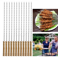Wholesale coated apron - Wholesale- 12  1 Set New Hot Fashion BBQ Barbecue Skewer Grill Kabob Kebab Stick FlBQ Barbecue Skewer Grill Kabob