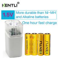 Wholesale Kentli Lithium - 4pcsKENTLI1.5vAAPM52400mWhRechargeableLi-ionLi-polymerLithiumbattery+4slotsUSBsmartAAAAAFlashlightCharger