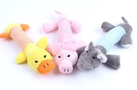 Wholesale Squeaky Plush Toys Dogs - 3 Style Dog Toys Pet Puppy Chew Squeaky Plush Duck Pig Elephant Sound Toys Wholesale Free Shipping