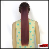 Wholesale Hair Extentions Clips - Wholesale- Wine Red 55cm Drawstring Ponytail Clip in Hair Fake Pieces Fast Extentions Synthetic Hairpiece Mega Tress tail bug Color