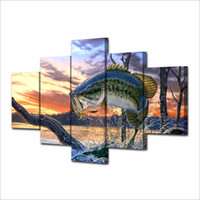 Wholesale Framed Fish Pictures - 5 Pcs Set Framed HD Printed Jumping fish landscape art Painting Canvas Print room decor poster picture canvas christmas art