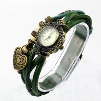Wholesale Bracelet Bangle Womens Girl Watch - Fashion Weave Wrap Around Leather Bracelet Bangle Womens Tree Leaf Green Girl Watch instock same day ship
