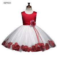 Wholesale party frocks for baby girls - Elegant Flower Dresses For Baby Girl Bow Costume Christmas Children Wedding Party Princess Frock Kid Bridesmaid Pageant Dress