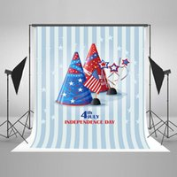 Wholesale Kate Hats - Kate 5x7ft Photography Backdrop USA Flag Hat White Stripe Photo Background Independence Day Photo Studio for 4th of July J04103