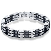 Wholesale Steel Strand - Stainless Steel Bracelet & Bangle 220mm Men's Jewelry Strand Rope Charm Chain Wristband Men's Bracelet