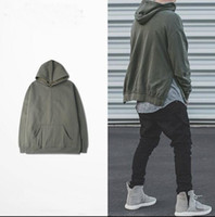 Wholesale Men Plain Hoodies - Fashion Mens Plain Hoodie Long Sleeve Pullover Two Side Slit With Open Pocket For Man Woman