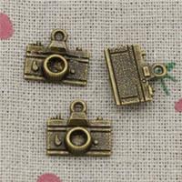Wholesale Camera Pendant Charm - 90pcs Charms retro camera 15*14mm Antique Bronze Pendant Zinc Alloy Jewelry DIY Hand Made Bracelet Necklace Fitting