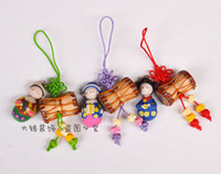 Wholesale Handmade Bags Korea - South Korea gifts clay dolls pendant mobile phone bag pendants Korean folk handmade gifts featured drum chain