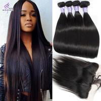 Wholesale Modern Hair Show - Brazilian Virgin Hair Straight 4 Bundles with Lace Frontal Closure Unprocessed Brazilian Human Hair Bundles with Frontal Modern Show Hair