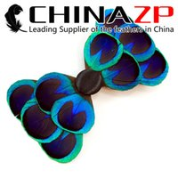 Wholesale feather hair dye - Gold Supplier CHINAZP High Quality Unique Dyed Blue Peacock Feather Headwear Clip for Party Hair Accessories