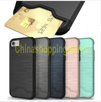 Wholesale hard back case packaging online - Wallet Card Slot Case For iPhone Plus samsung note Note Armor case hard shell back cover with kickstand case with opp package