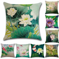 Wholesale hotel chinese painting for sale - Group buy Chinese Hand Painting Lotus Flower Water Lily Pillowcase Linen Sofa Pillow Case Cushion Cover CM Home Cafe Office Decor Gift for Friend