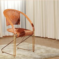 Wholesale outdoor rattan sofas - Handmade weaving imitation rattan PE iron chairs outdoor leisure simple Wicker furniture balcony outdoor Rattan chair sofa