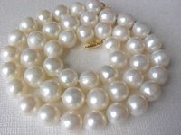 Wholesale Sterling Silver Claps - 9-10mm Genuine White Pearl Necklace With 14K Yellow Gold Claps 18 inches Long