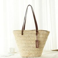 Wholesale Extra Large Fashion Tote Bags - 2017 New Summer Design Women Beach Bag Fashion Solid Straw Handbags European Popular Women Shoulder Bags Ladies