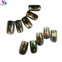Wholesale Full Nail Foils - Wholesale- New Design Artificial False Press On Nails Full Cover Foil Effect Faux Ongels Fake nails With Glue Acrylic Nail Art Tips