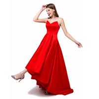 tela de raso coral al por mayor-noche del vestido de novia de color rojo hermoso con el frente corto y largo volver telas de satén de moda nuevo vestido formal del vestido elegante banquete