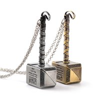 Wholesale Avengers Movie Props - avengers Thor Necklace Thor The Dark World Hammer Pendants Necklace for men cosplay props statement jewelry Movie Jewelry vs Hobbit 160561