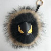 "Wholesale Cartoon Cool Boy - 7"" Large Black Brown Real Raccoon Fur Monster Cool Face Bug bag Charm Ball Pompom Keychain Holder Backpack Tassel Pendant Handbag"
