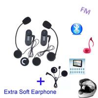 Wholesale Motorcycle Hifi - Extra Soft Earphone! FM+LCD Screen! 2PCS TCOM-SC 800M HiFi BT Motorcycle Intercom Bluetooth Helmet Intercom Headset