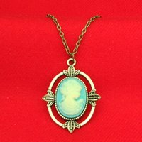 Wholesale Vintage Vampire Diaries Jewelry - The Vampire Diaries Necklaces Vintage Bronze Katherine Beauty Head Pendant Charm Women necklace for women Girls statement jewelry 160556