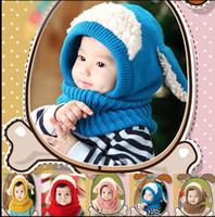 Wholesale knitting earflap hat - Baby Winter Crochet Hats Cap knit Crochet Warm Hats Ears Beanie Shawl Hat One-piece Neck Warm Winter Hat Earflap Knitted Cap KKA3425