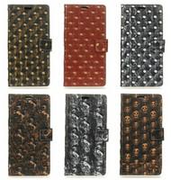 Wholesale Wholesale Metal Skulls For Cases - Luxury Metal Wallet Leather For Galaxy S8 Plus (J5 J7)2017 J520 J720 MOTO G5 LG G6 Nokia 6 Skull Horse Dot Holder Card Slot Cash Pocket Case