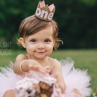 Wholesale Princess Birthday Hats - 24Pcs lot Princess headband Birthday Party Hat Newborn Felt Crown Headband Happy Birthday Headwear Girl Crown Headbands pom pom headband