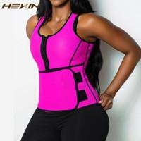 Wholesale Sauna Sweat Belts - Wholesale- HEXIN Neoprene Sauna Waist Trainer Vest Hot Shaper Summer Workout Shaperwear Slimming Adjustable Sweat Belt Fajas Body Shaper 6X