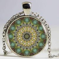 Wholesale Bronze Turtle Vintage - Golden Star Turtle wheel Botanical Mandala Glass Cabochon Statement Necklace & Pendant Jewelry Vintage Bronze Chain Choker Necklace For Wome